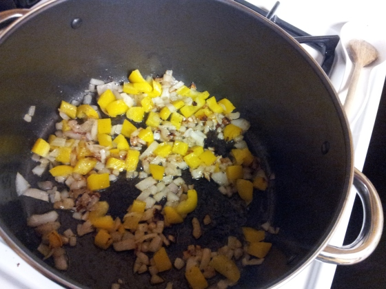 Saute onions in olive oil. Add yellow bell pepper.